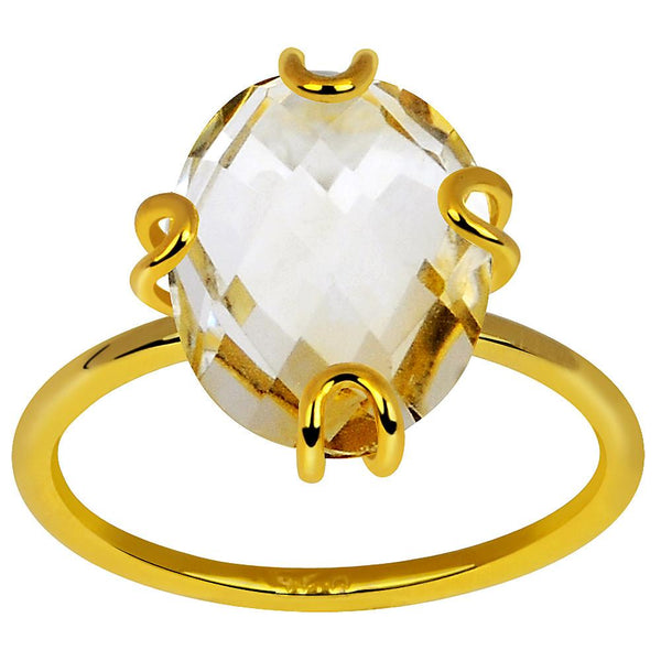Orchid Jewelry 14k Gold Plated 925 Sterling Silver 4.50 Carat  Citrine Ring