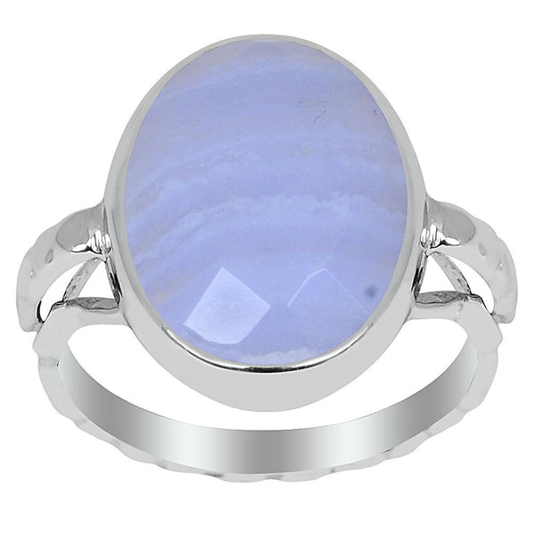 Orchid Jewelry 7.75 Carat Blue Lace Agate 925 Sterling Silver Ring