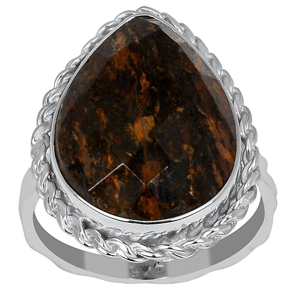 Orchid Jewelry 8.75 Carat Bronzite Jasper 925 Sterling Silver Ring