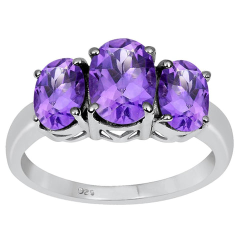Orchid Jewelry 2.50 Carat Amethyst Three stone 925 Sterling Silver Ring