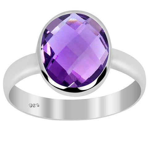 Orchid Jewelry 4.00 Carat Amethyst 925 Sterling Silver Oval Shape Ring