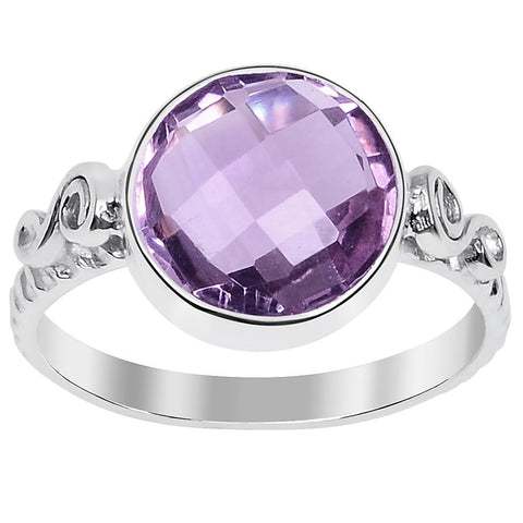 Orchid Jewelry 3.15 Pink Amethyst 925 Sterling Silver Ring