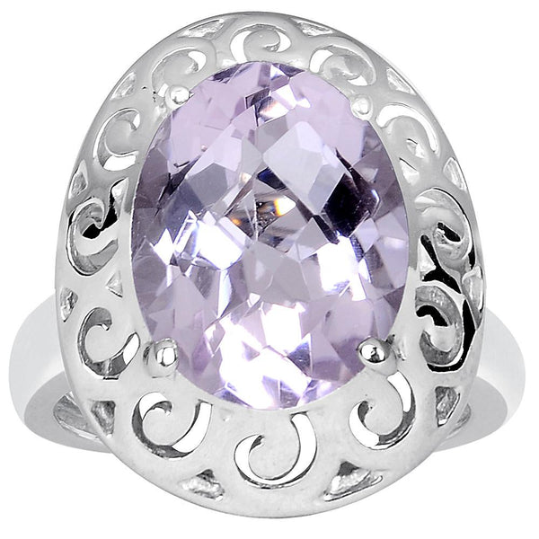 Orchid Jewelry 4.80 Carat Pink Amethyst 925 Sterling Silver Filigree Ring