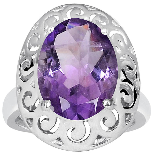 Orchid Jewelry 4.80 Carat Amethyst 925 Sterling Silver Ring