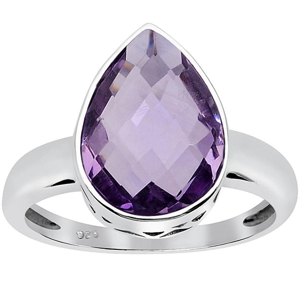 Orchid Jewelry 4.30 Carat Amethyst 925 Sterling Silver Ring