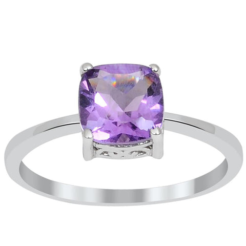 Cushion Cut Purple Amethyst Silver Ring, Size 7