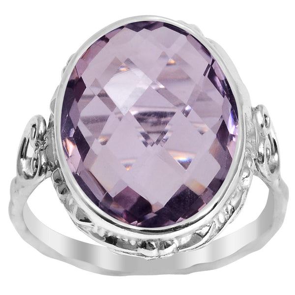 Orchid Jewelry 7.30 Carat Genuine Pink Amethyst Sterling Silver Ring