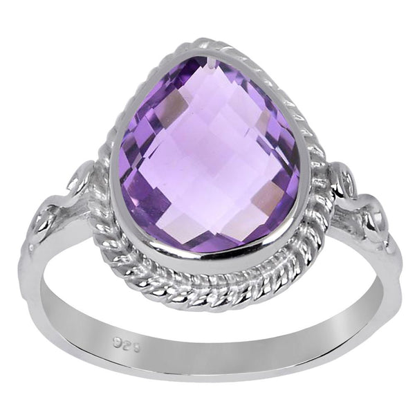 Orchid Jewelry 3.20 Carat Genuine Amethyst Sterling Silver Ring
