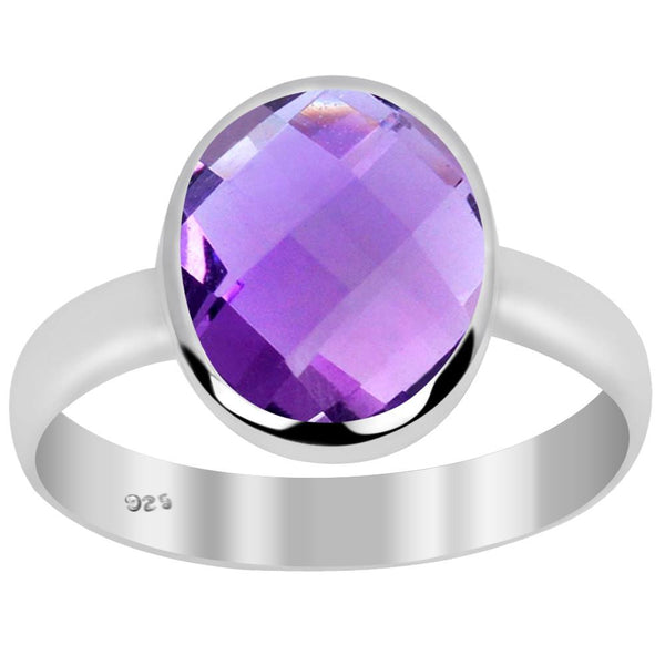 Orchid Jewelry 2.00 Carat Genuine Amethyst 925 Sterling Silver Ring