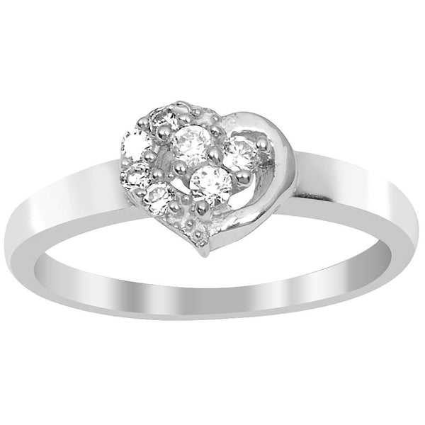 Orchid Jewelry 925 Sterling Silver 0.23 Carat Cubic Zirconia Heart Shape Ring