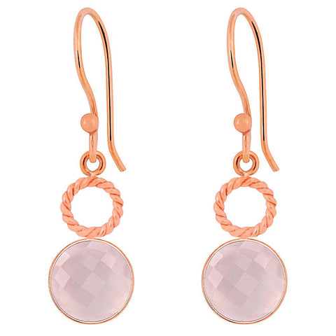 Quality Jewelry 6.60 Carat Genuine Rose Quartz Fashion Earring With Rose Gold Plated