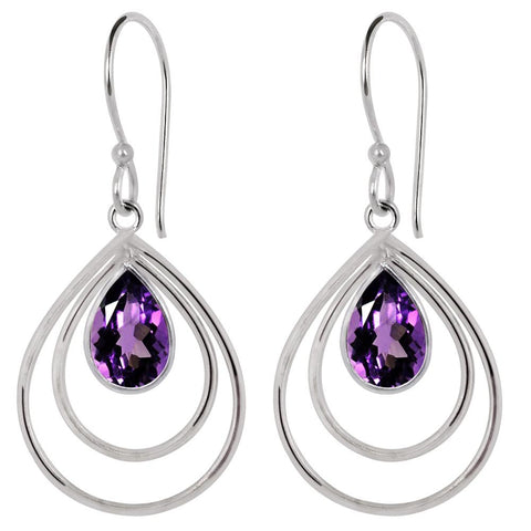 Quality Jewelry 3.15 Carat Genuine Amethyst Fashion Dangle Earring