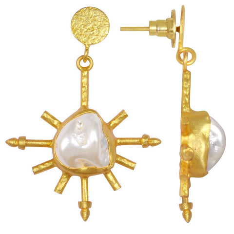 Quality Jewelry 30.00 Carat Fancy Shape Pearl Earrings with 14K Yellow Gold Plated