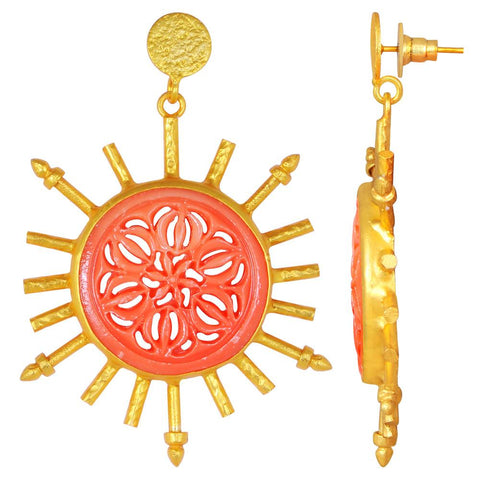 Quality Jewelry 50.00 Carat Carved Coral Drop Brass Earrings with 14K Yellow Gold Plated