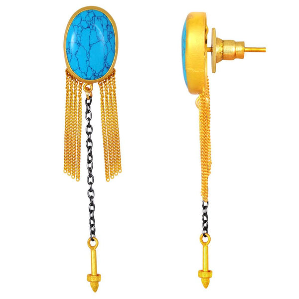Quality Jewelry 35.00 Carat Created Turquoise Fashion Earrings with 14K Yellow Gold Plated