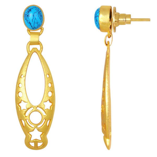 Quality Jewelry Yellow Gold Plated 10.00 Carat Turquoise Drop Earrings