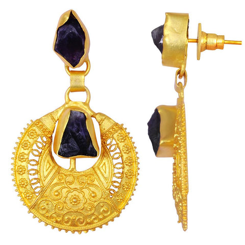 Quality Jewelry 35.00 Carat Amethyst Gemstone Dangle Earrings with 14K Yellow Gold Plated