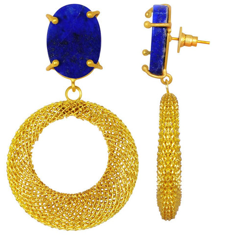 Quality Jewelry 20.00 Carat Lapis Gemstone Dangle Earrings with 14K Yellow Gold Plated