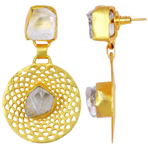 Quality Jewelry 25.00 Carat Green Quartz Gemstone Earrings with 14K Yellow Gold Plated