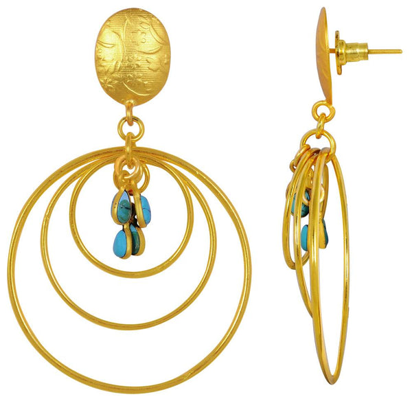 Quality Jewelry 4.00 Carat Created Turquoise Gemstone Dangle Earrings with 14K Yellow Gold Plated