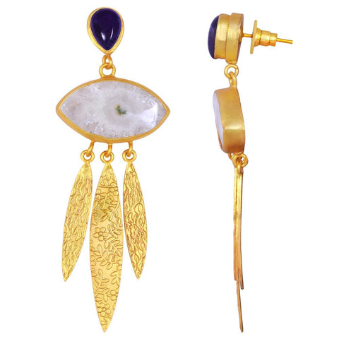 Quality Jewelry 30.00 Carat Amethyst and Agate Gemstone Earrings with 14K Yellow Gold Plated