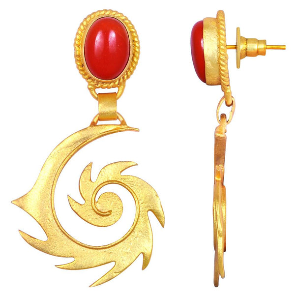 Quality Jewelry 15.00 Carat Created Coral Gemstone Earrings with 14K Yellow Gold Plated