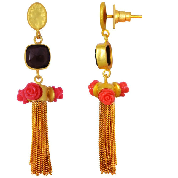 Quality Jewelry 25.00 Carat Coral and Smoky Quartz Earrings with 14K Yellow Gold Plated