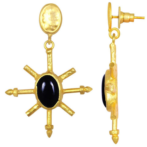 Quality Jewelry 12.00 Carat Black Onyx Earrings with 14K Yellow Gold Plated