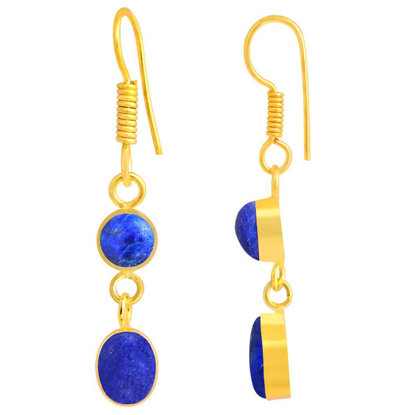 Quality Jewelry Lapis Lazuli 18k Yellow Gold Plated Fashion Earrings