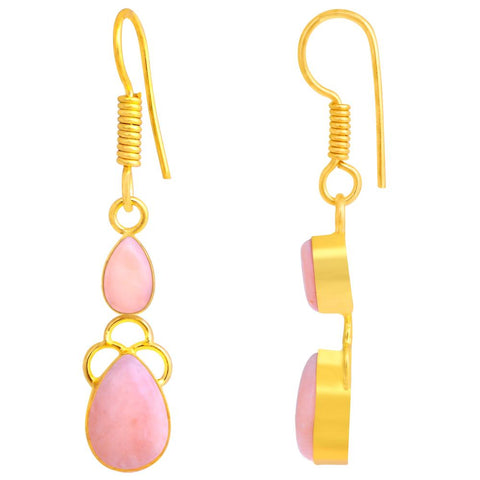 Quality Jewelry 5.98 Carat Opal 14k Yellow Gold Plated Fashion Earrings