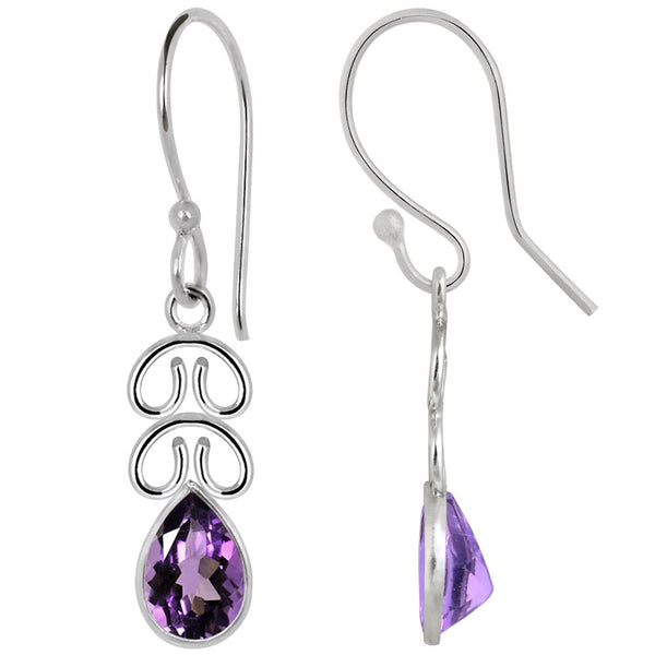 Quality Jewelry 2.10 Carat Pear Shape Amethyst Gemstone Fashion Chandelier Earrings