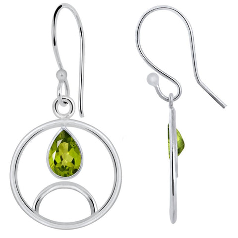 Quality Jewelry White Gold Plated 1.50 Carat Peridot Earrings