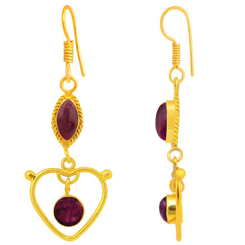 Quality Jewelry Ruby Zoisite 18k Gold Plated Dangle Heart Earrings