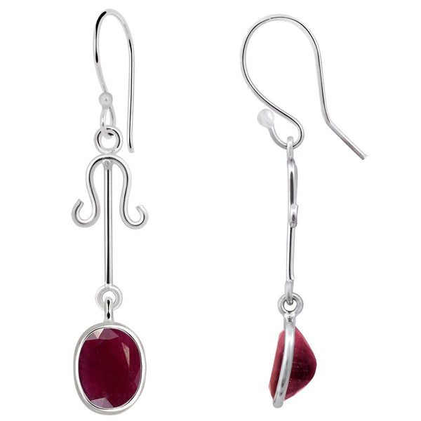 Quality Jewelry 7.00 Carat Ruby Dangle Fashion Earrings
