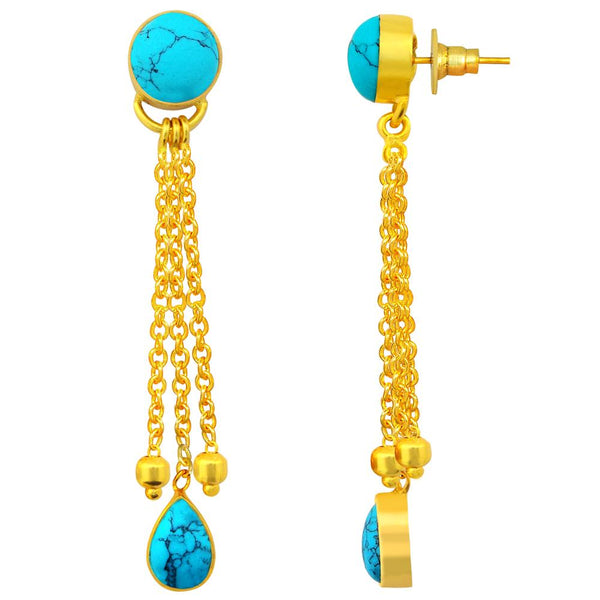 Quality Jewelry 9.00 Carat Turquoise 18k Gold Plated Fashion Earrings