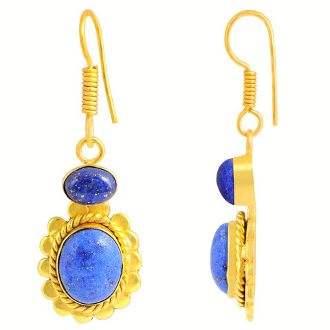 Quality Jewelry 10.60 Carat Genuine Lapis Lazuli Fashion Earrings with 14k Yellow Gold Plated
