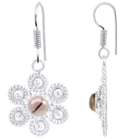Quality Jewelry White Gold Plated 1.75 Carat Smoky Quartz Flower Earrings