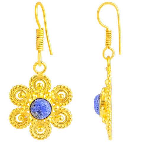 Quality Jewelry 2.10 Carat Genuine Lapis Lazuli Gold Plated Earring