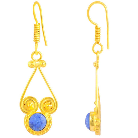 Quality Jewelry Gold Plated 2.15 Carat Lapis Lazuli Dangle Earrings
