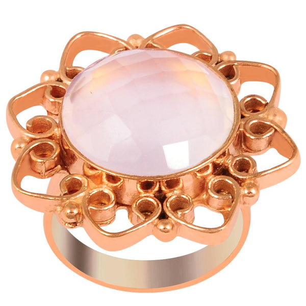 Quality Jewelry 12.00 Carat Rose Quartz Rose Gold Plated Fashion Ring