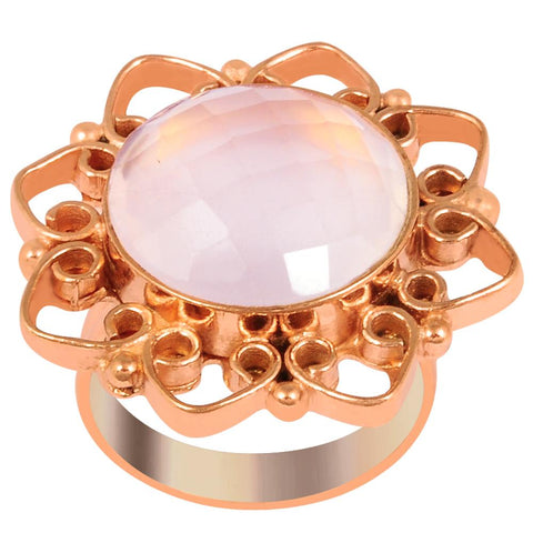 Quality Jewelry 12.10 Carat Weight Genuine Rose Quartz Rose Gold Plated Fashion Ring