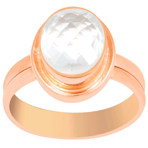 Quality Jewelry 2.20 Carat Rose Quartz Rose Gold Plated Gemstone Ring