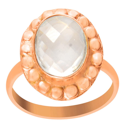 Quality Jewelry 2.20 Carat Rose Quartz Rose Gold Plated Fashion Ring