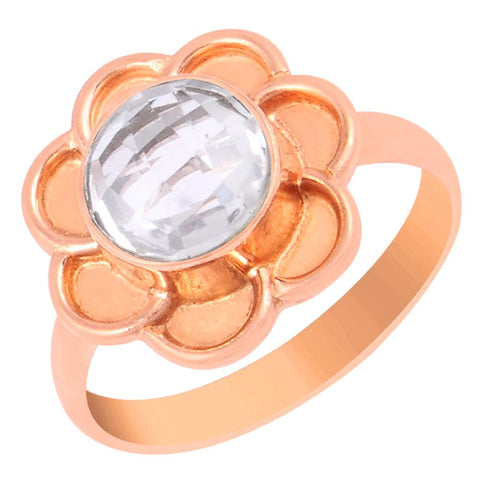 Quality Jewelry 1.65 Carat Rose Quartz Rose Gold Plated Fashion Ring