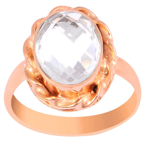 Quality Jewelry 2.20 Carat Genuine Rose Quartz Rose Gold Plated Fashion Ring