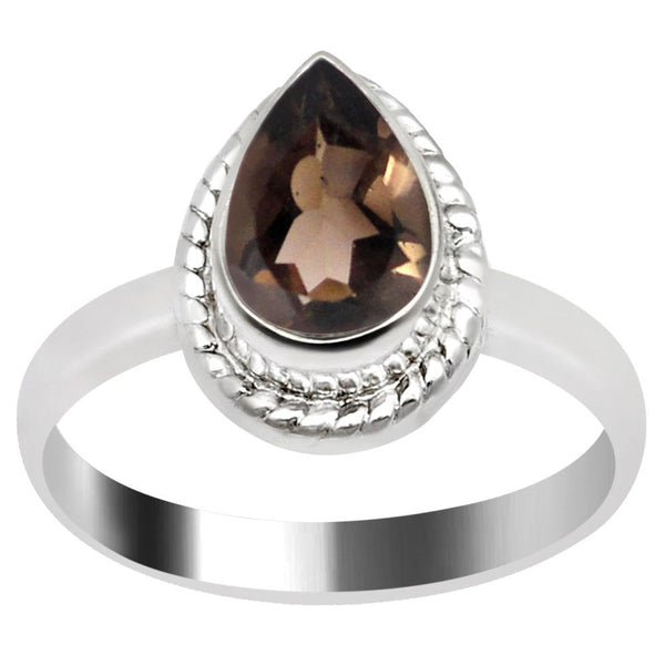 Quality Jewelry 1.20 Carat Smoky Quartz White Gold Plated Fashion Ring