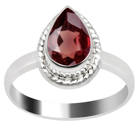 Quality Jewelry 1.50 Carat Weight Genuine Garnet White Gold Plated Fashion Ring