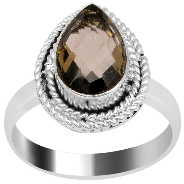 Quality Jewelry 3.55 Carat Smoky Quartz White Gold Plated Fashion Ring