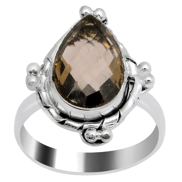 Quality Jewelry 3.55 Carat Smoky Quartz White Gold Plated Fashion Jewelry Ring
