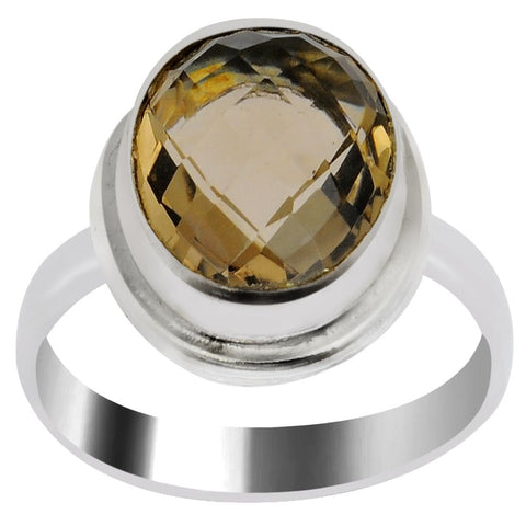 Quality Jewelry 6.80 Carat Smoky Quartz White Gold Plated Fashion Ring